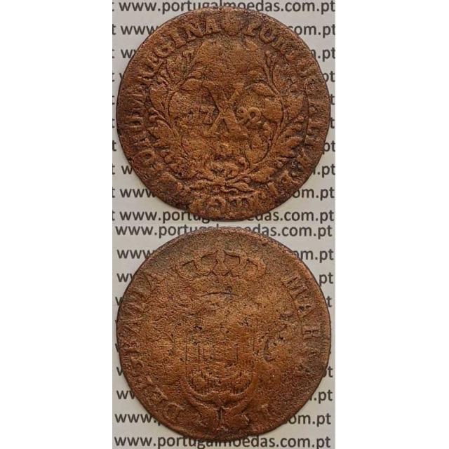 MOEDA X REIS COBRE 1792 (REG) COROA ALTA - D. MARIA I