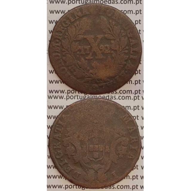 MOEDA X REIS COBRE 1792 (BC-) - COROA BAIXA - D. MARIA I