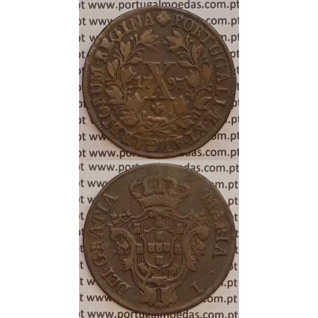 MOEDA X REIS COBRE 1797 (MBC) COROA ALTA - D. MARIA I