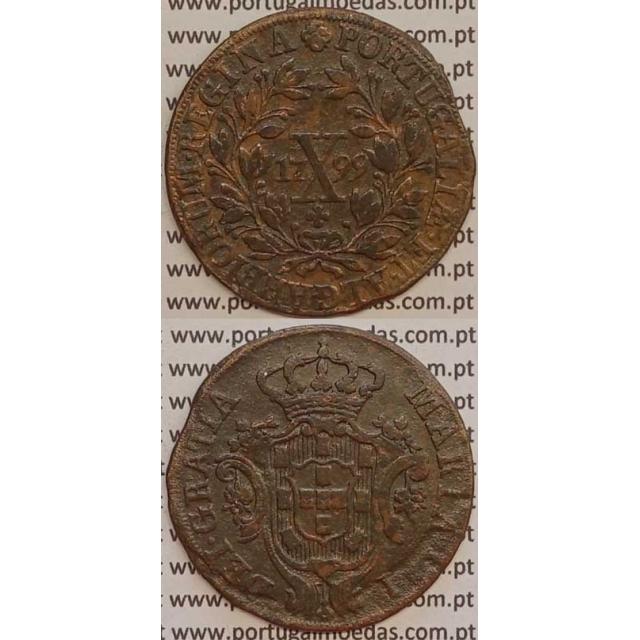 MOEDA X REIS COBRE 1799 (MBC) COROA ALTA/ REVERSO C/ ALGARISMOS DATA GRANDES - D. MARIA I