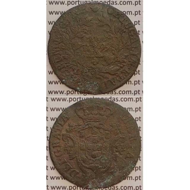 MOEDA X REIS COBRE 1799 (BC-/REG) COROA ALTA/ REVERSO C/ ALGARISMOS DATA GRANDES - D. MARIA I