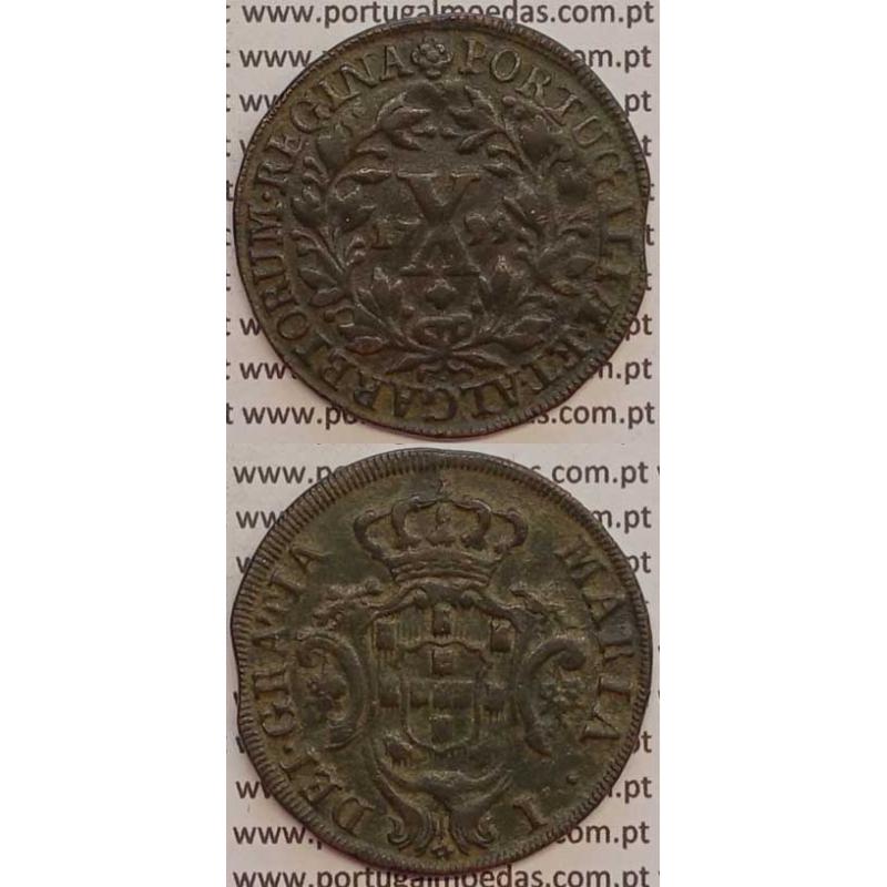 MOEDA X REIS COBRE 1799 (MBC) COROA ALTA/ REVERSO C/ ALGARISMOS DATA PEQUENOS - D. MARIA I