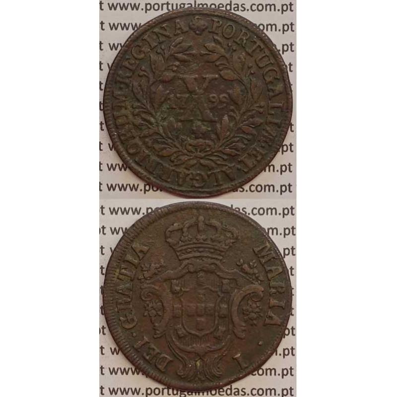 MOEDA X REIS COBRE 1799 (MBC) - COROA BAIXA - D. MARIA I