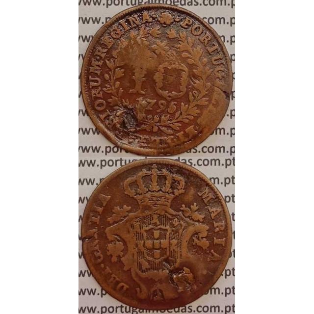 MOEDA 10 RÉIS COBRE 1795 (BC-/REG) AÇORES - D.MARIA I