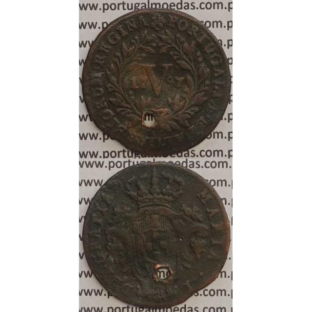 MOEDA V REIS COBRE 1797 (BC-) ANVERSO COM LETRAS MENORES - 26 FRUTOS - D. MARIA I