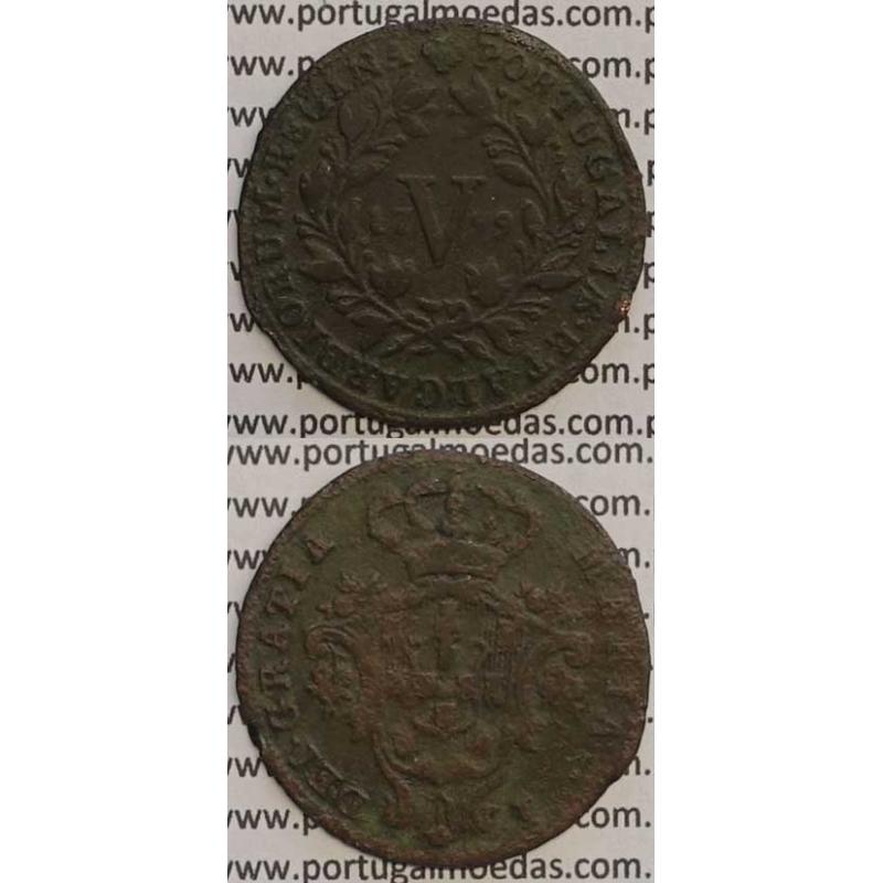 MOEDA V REIS COBRE 1799 (BC+) - LETRAS PEQUENAS / DATA MÉDIA - 26 FRUTOS - D. MARIA I