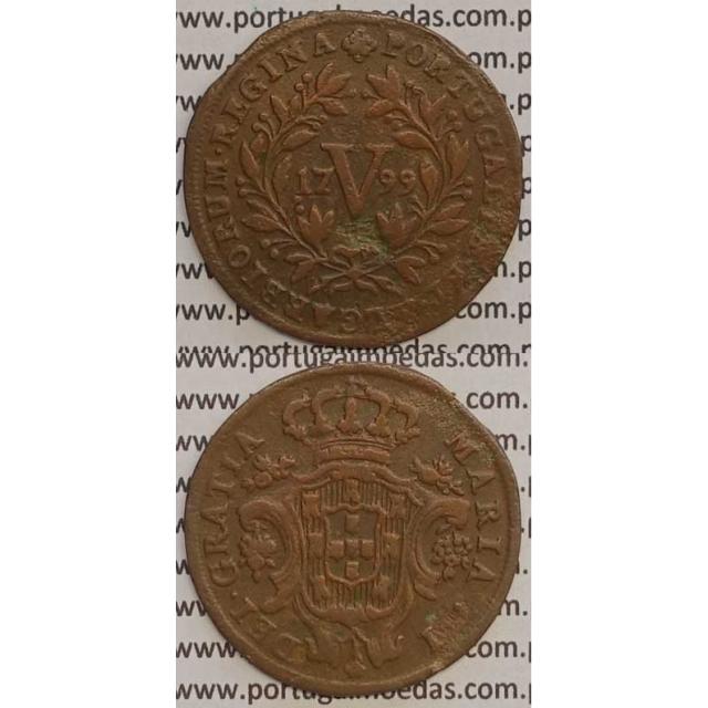 MOEDA V REIS COBRE 1799 (MBC) - LETRAS PEQUENAS / DATA MÉDIA - 26 FRUTOS - D. MARIA I