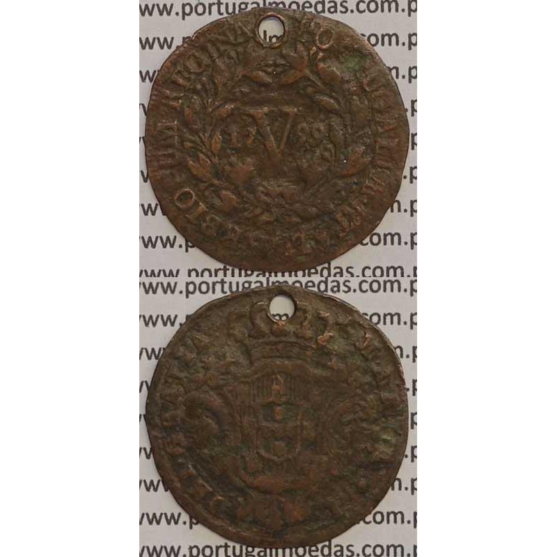 MOEDA V REIS COBRE 1799 (BC) - LETRAS GRANDES / DATA GRANDE - 28 FRUTOS - D. MARIA I