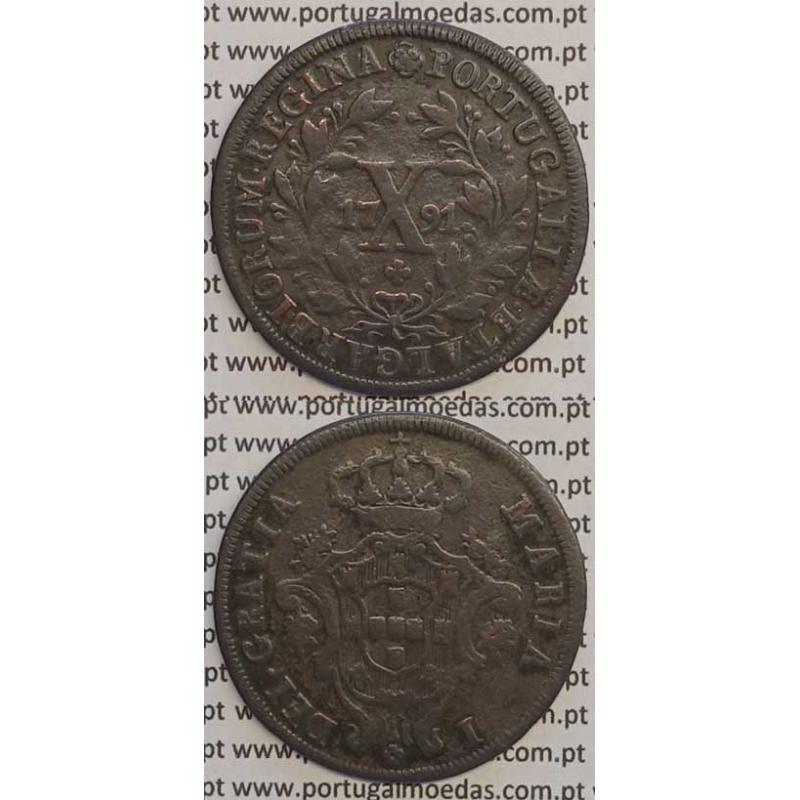 MOEDA X REIS COBRE 1791 (MBC) COROA BAIXA - D. MARIA I