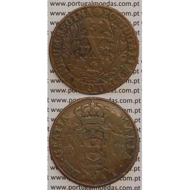MOEDA X REIS COBRE 1792 (MBC-) - COROA BAIXA - 30 FRUTOS - D. MARIA I