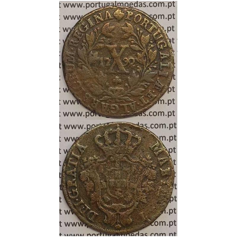 MOEDA X REIS COBRE 1792 (BC+) COROA ALTA - 30 FRUTOS - D. MARIA I