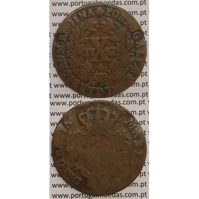 MOEDA X REIS COBRE 1792 (BC) COROA ALTA - 30 FRUTOS - D. MARIA I