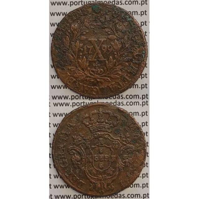 "MOEDA X REIS COBRE 1799 (MBC) - ""MARQUILHA FINA"" - COROA BAIXA/DATA GRANDE - 28 FRUTOS - D. MARIA I"