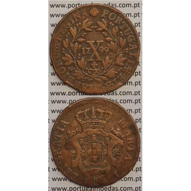MOEDA X REIS COBRE 1799 (MBC) - COROA BAIXA/DATA GRANDE - 28 FRUTOS - D. MARIA I