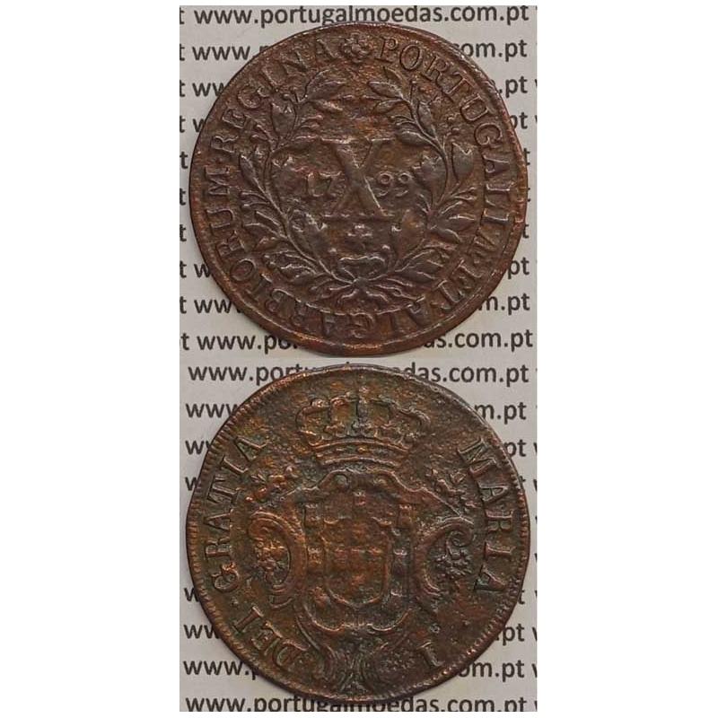 MOEDA X REIS COBRE 1799 (MBC) - COROA BAIXA/DATA MÉDIA - 30 FRUTOS - D. MARIA I