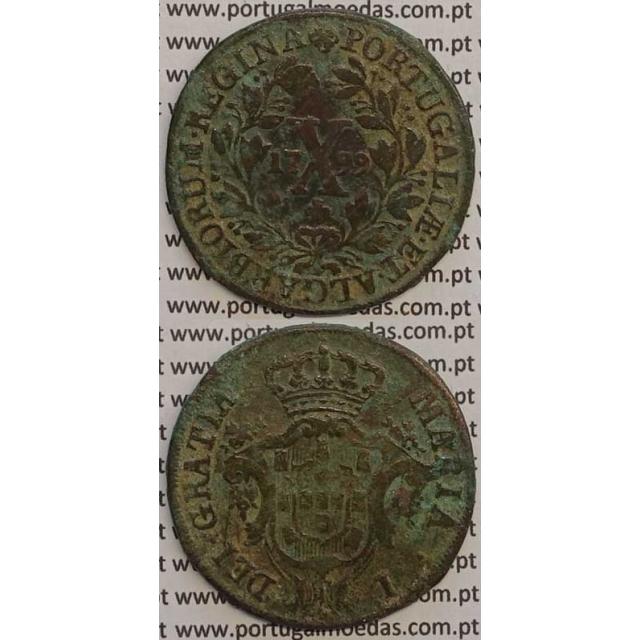 MOEDA X REIS COBRE 1799 (MBC) - COROA BAIXA/DATA MÉDIA - 15 FRUTOS À ESQ. E 14 FRUTOS À DIR. - D. MARIA I