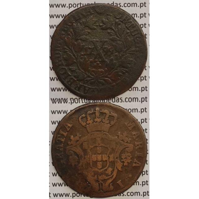 "MOEDA X REIS COBRE 1799 (BC) - ""MARQUILHA FINA"" - COROA BAIXA/DATA GRANDE - 28 FRUTOS - D. MARIA I"