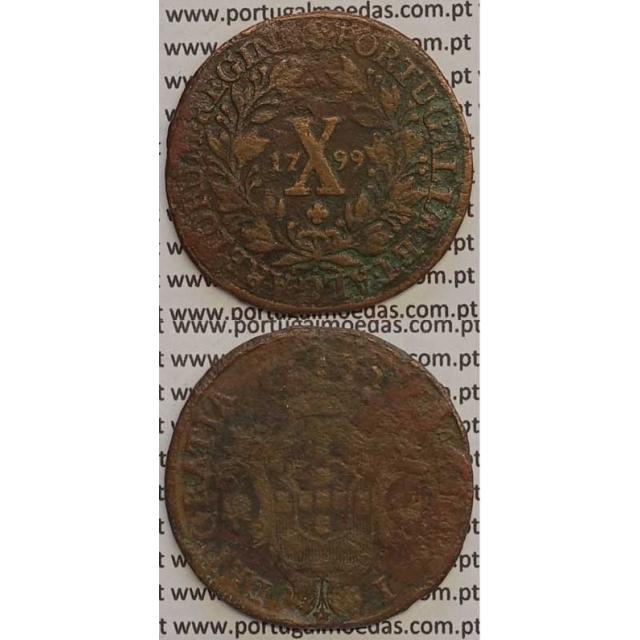 MOEDA X REIS COBRE 1799 (BC) - COROA BAIXA/DATA PEQUENA - 26 FRUTOS - D. MARIA I