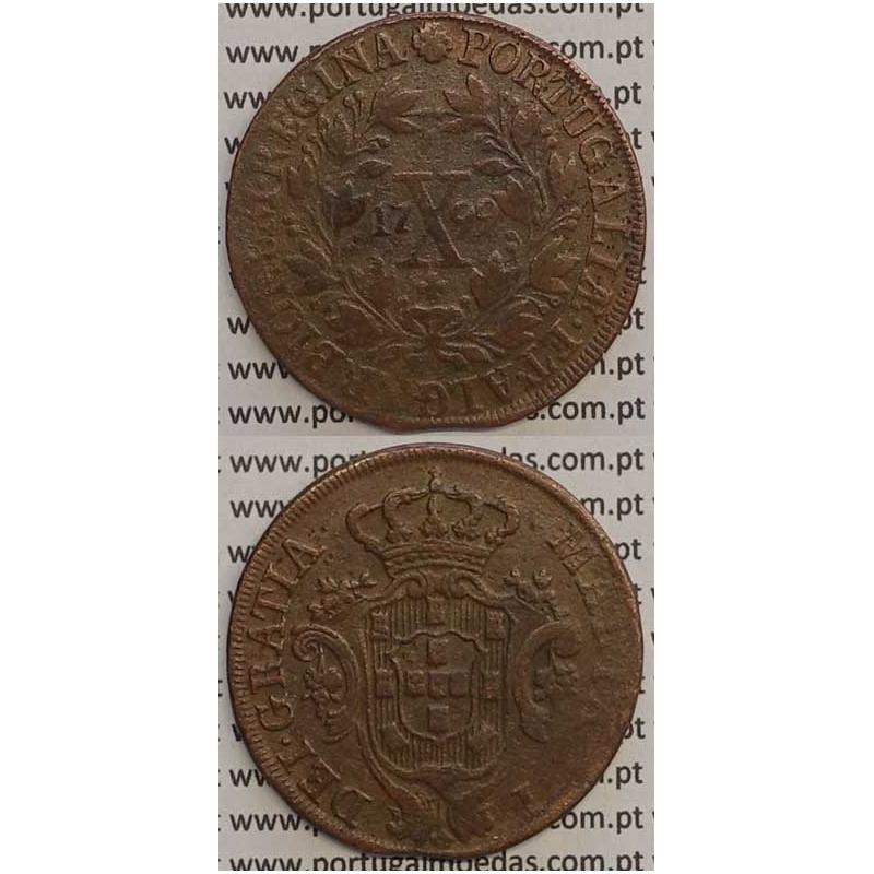 "MOEDA X REIS COBRE 1799 (MBC+) - ""MARQUILHA FINA"" - COROA ALTA/DATA GRANDE - 30 FRUTOS - D. MARIA I"