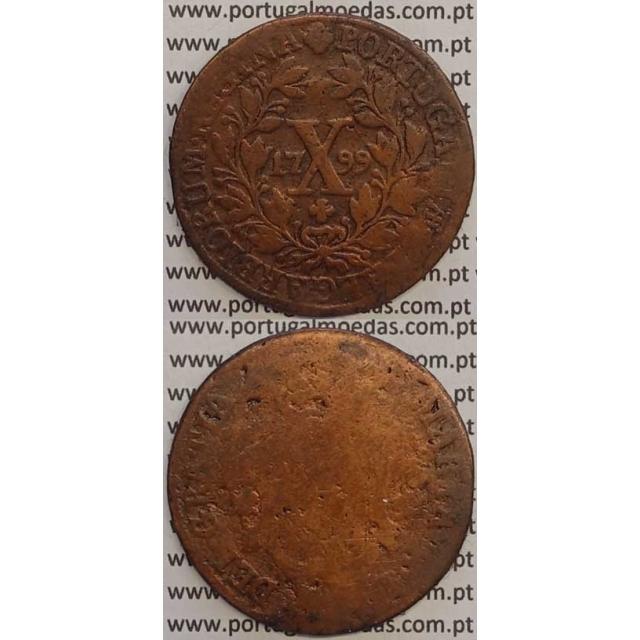 MOEDA X REIS COBRE 1799 (BC-/REG) - DATA MÉDIA - 30 FRUTOS - D. MARIA I