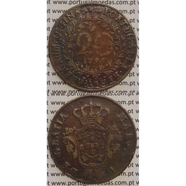 MOEDA 20 RÉIS COBRE 1795 (MBC) AÇORES / CUNHADA SOBRE DISCO DE OUTRA MOEDA (X REIS)
