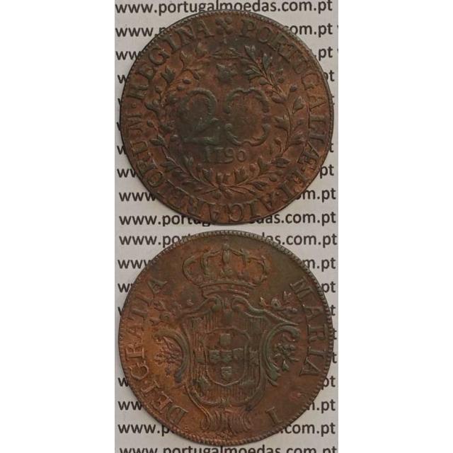 MOEDA 20 RÉIS COBRE 1790 (MBC) AÇORES - D.MARIA I