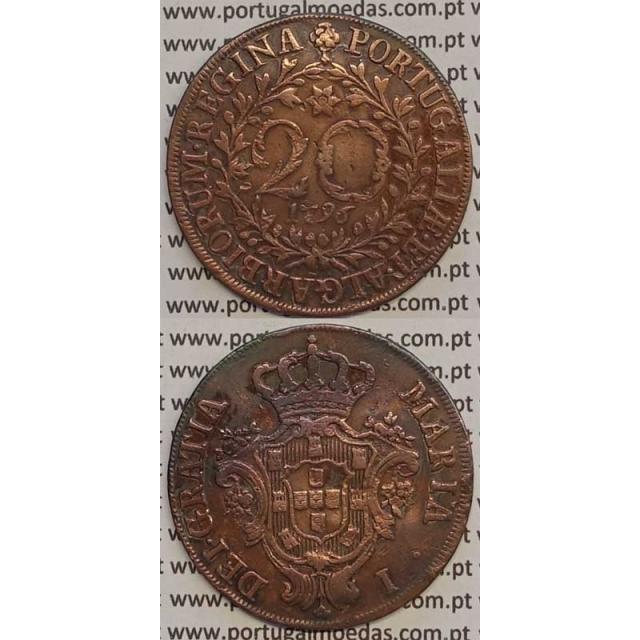 MOEDA 20 RÉIS COBRE 1796 (MBC) AÇORES - D.MARIA I