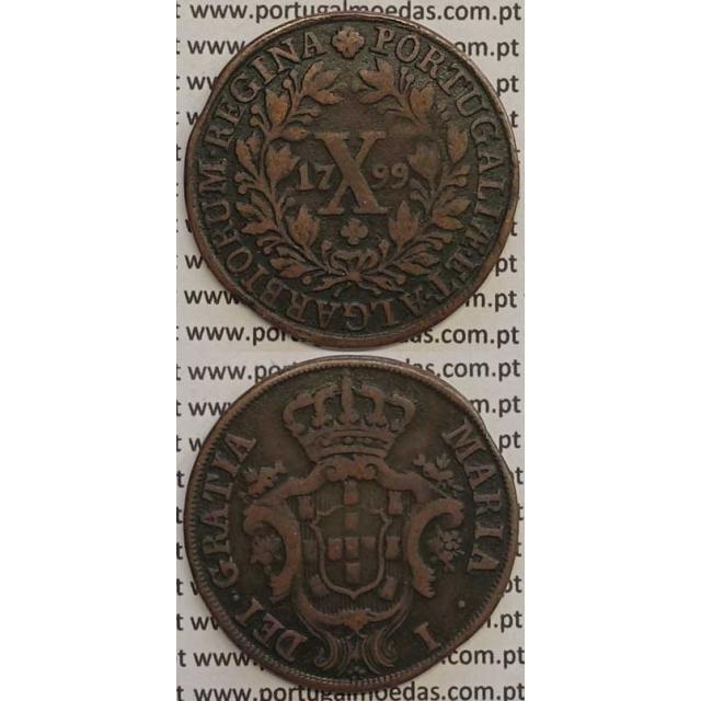 MOEDA X REIS COBRE 1799 (MBC) - COROA ALTA/DATA MÉDIA - 30 FRUTOS - D. MARIA I