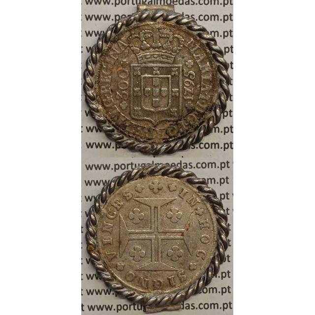 MOEDA 300 RÉIS PRATA 1795 (BC) COM ORLA DE OURIVES - AÇORES - D.MARIA I