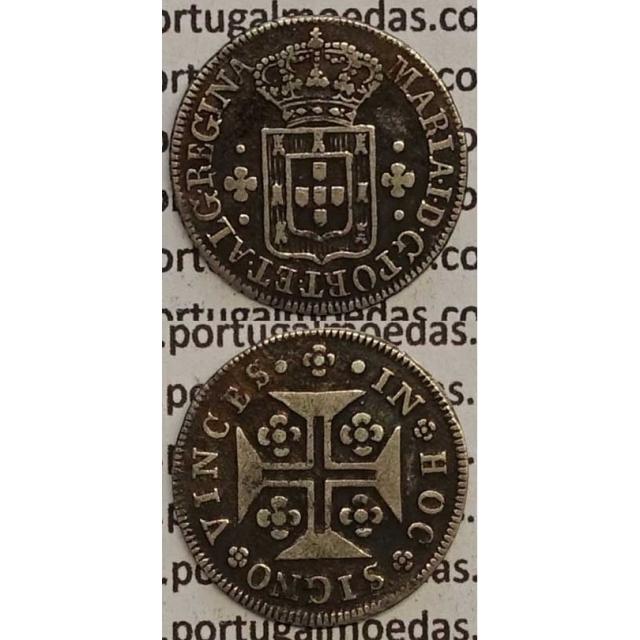 MOEDA 3 VINTENS PRATA 1788-1799 (MBC+) COROA ALTA / EIXO VERTICAL- D. MARIA I