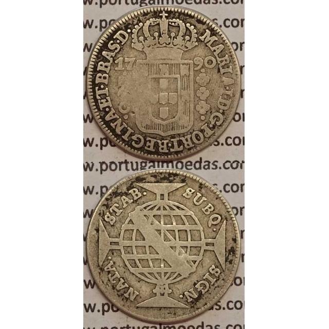 MOEDA 160 REIS PRATA 1790 (BC) COROA BAIXA - BRASIL - D. MARIA I