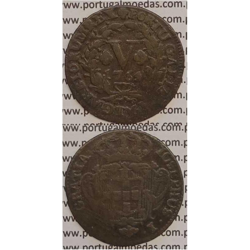 MOEDA V REIS COBRE 1764 (BC) - D.JOSÉ I - IOSEPHUS