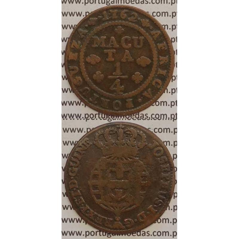 MOEDA 1/4 MACUTA (EQUIPAGA) COBRE 1762 (MBC+) JOSEPHUS - ANGOLA
