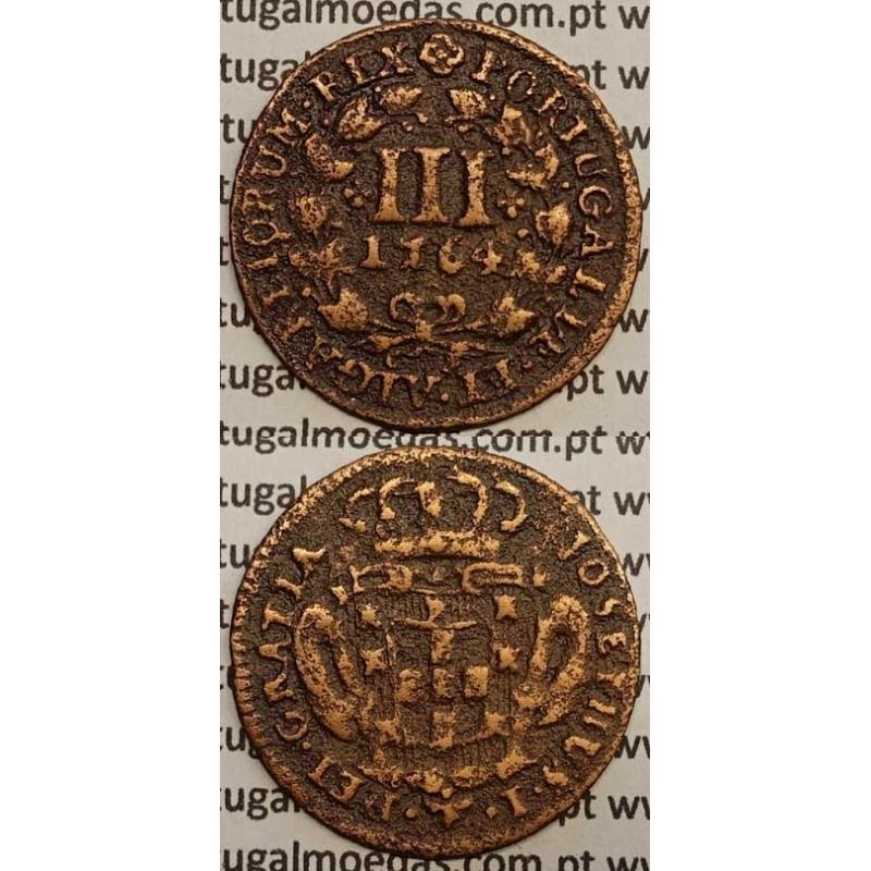 MOEDA DE III REIS COBRE 1764 (BC+) - D. JOSÉ I - JOSEPHUS