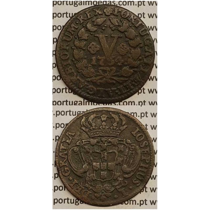 MOEDA V REIS COBRE 1754 (MBC) - D.JOSÉ I - IOSEPHUS