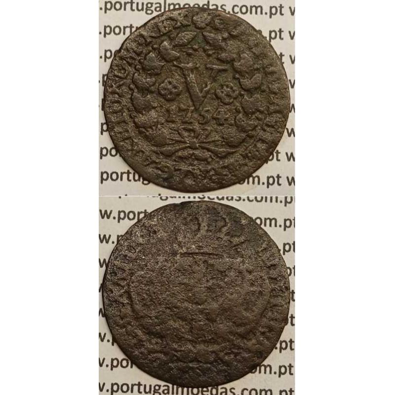 MOEDA V REIS COBRE 1754 (BC) - D.JOSÉ I - IOSEPHUS