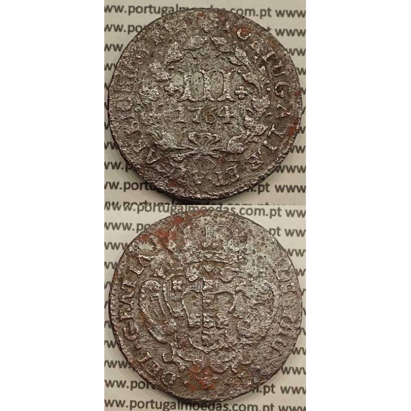 MOEDA DE III REIS COBRE 1764 (BC+) - ALGARISMOS GRANDES - MARQUILHA ORNAMENTADA - JOSEPHUS