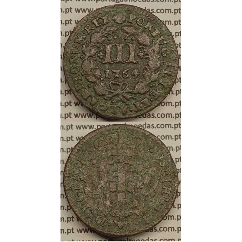 MOEDA DE III REIS COBRE 1764 (MBC) - ALGARISMOS DATA PEQUENOS - JOSEPHUS