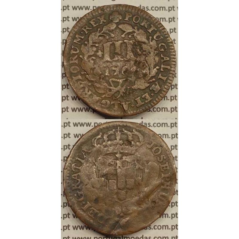 MOEDA DE III REIS COBRE 1764 (BC) - ALGARISMOS DATA PEQUENOS - JOSEPHUS