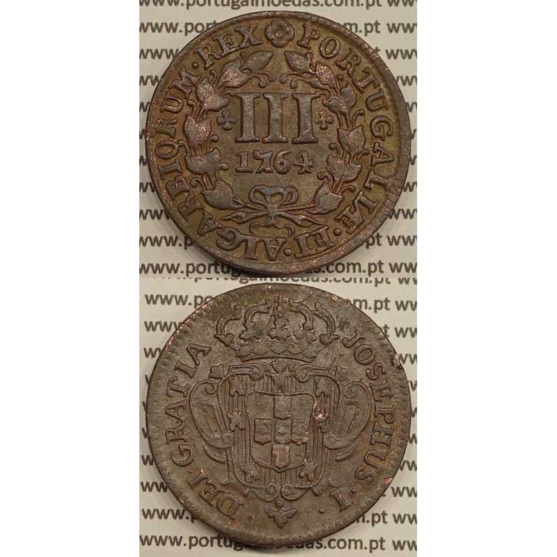 MOEDA DE III REIS COBRE 1764 (MBC+) - LEGENDA JUNTO À COROA - JOSEPHUS