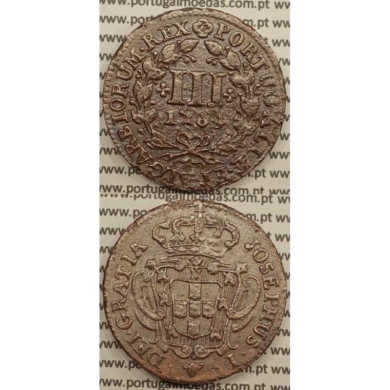 MOEDA DE III REIS COBRE 1764 (MBC) - LEGENDA JUNTO Á COROA - JOSEPHUS
