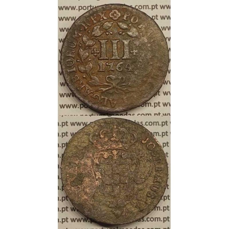 MOEDA DE III REIS COBRE 1764 (BC+) - LEGENDA JUNTO Á COROA - JOSEPHUS
