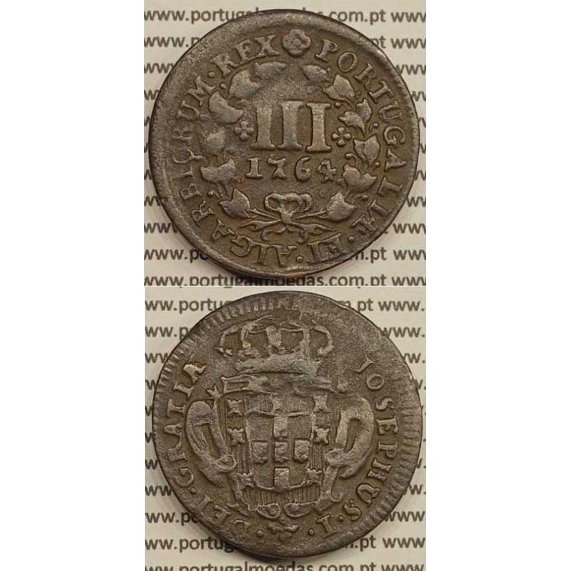 MOEDA DE III REIS COBRE 1764 (MBC+) - LEGENDA AFASTADA DA COROA - JOSEPHUS