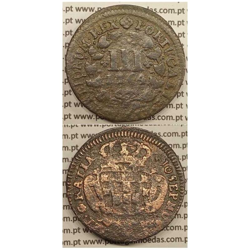 MOEDA DE III REIS COBRE 1764 (BC+) - LEGENDA AFASTADA DA COROA - JOSEPHUS