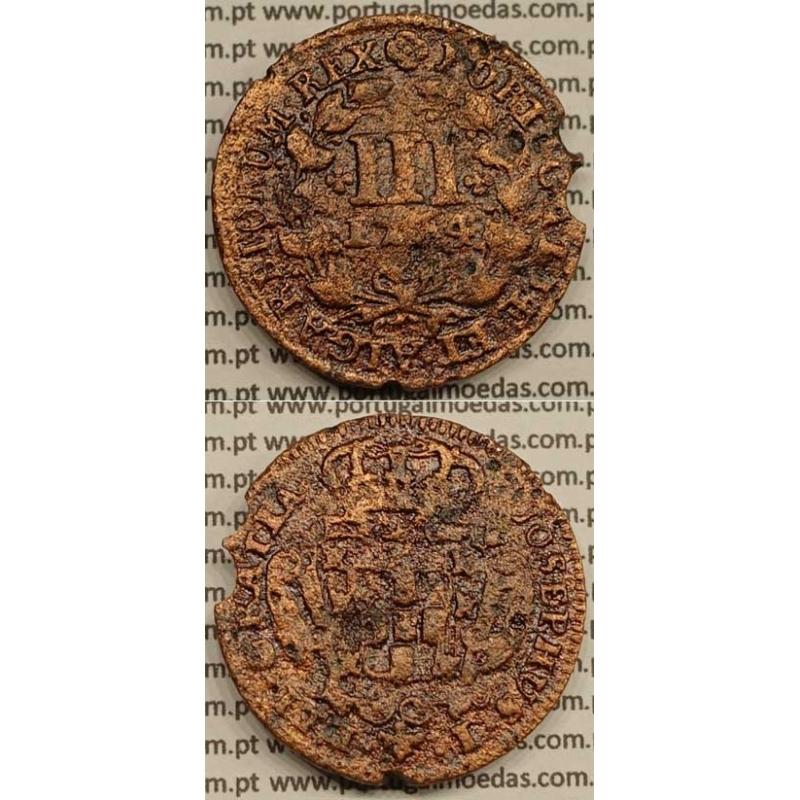 MOEDA DE III REIS COBRE 1764 (BC) - LEGENDA AFASTADA DA COROA - JOSEPHUS