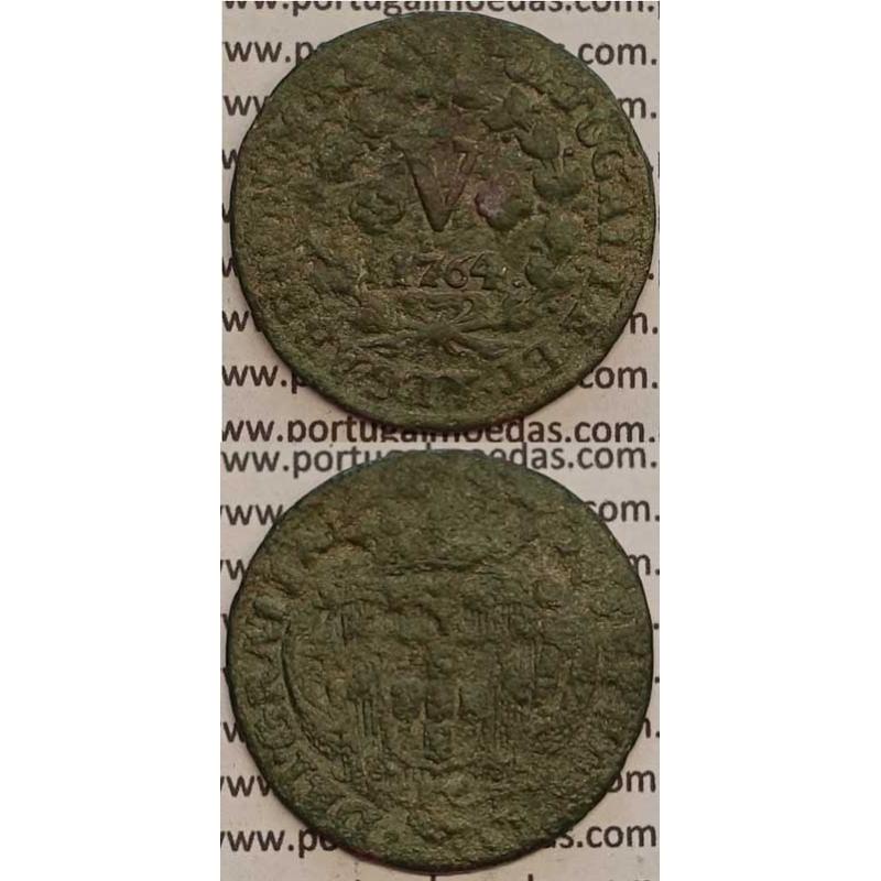MOEDA V REIS COBRE 1754 (BC+) - D.JOSÉ I - IOSEPHUS - COM PENTAPÉTALOS E LEGENDA JUNTO Á COROA