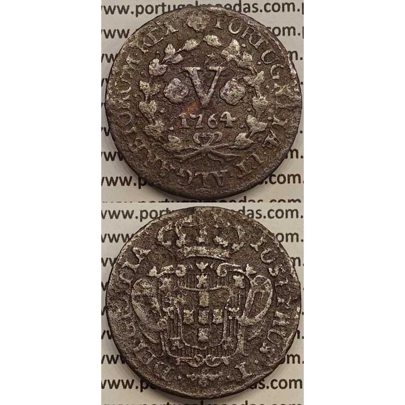 MOEDA V REIS COBRE 1754 (BC) - D.JOSÉ I - IOSEPHUS - MARQUILHA PEQUENA