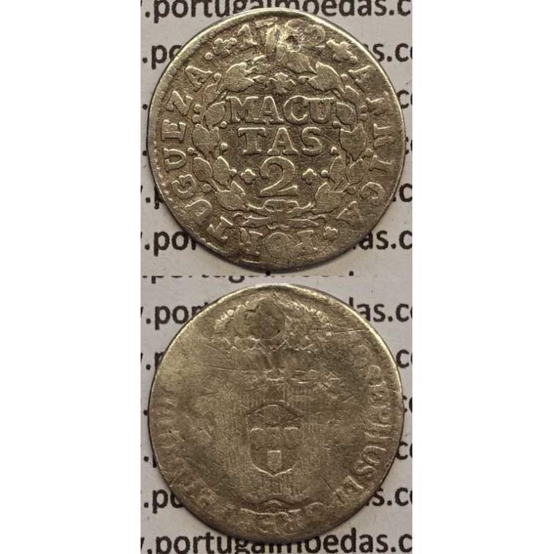 MOEDA 2 MACUTAS PRATA 1762 (BC-) ANGOLA - D.JOSÉ I
