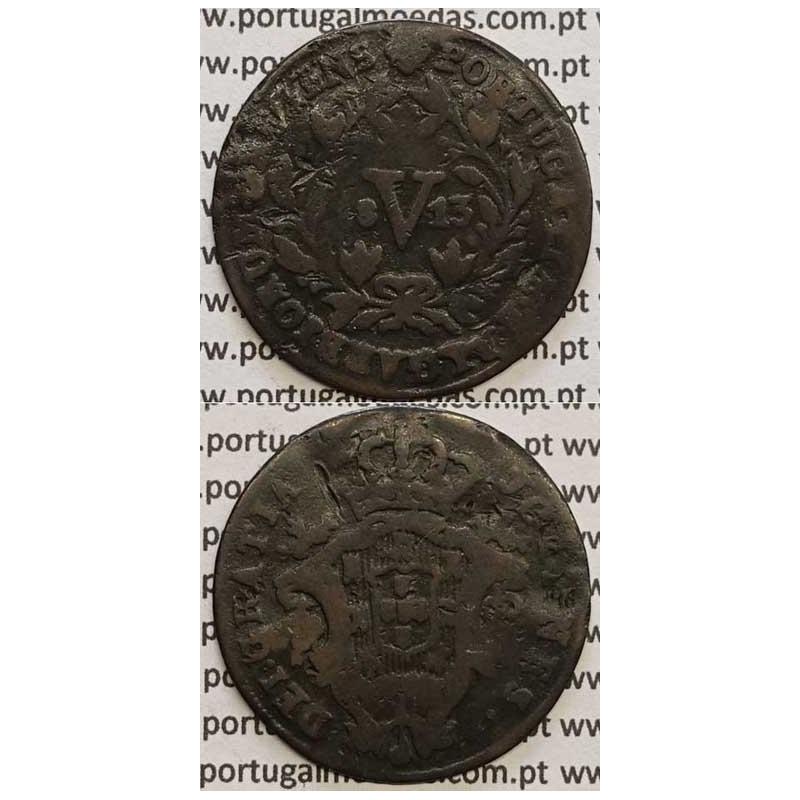 """MOEDA V REIS COBRE 1813 (BC) """"PORTUGALIAE"""" COM LETRAS MAIORES E MARQUILHA MENOR  6 mm"""