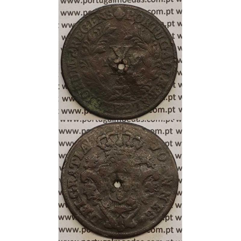 MOEDA X REIS COBRE 1812 (BC) REMATE ESCUDO LARGO - D. JOÃO PRÍNCIPE REGENTE